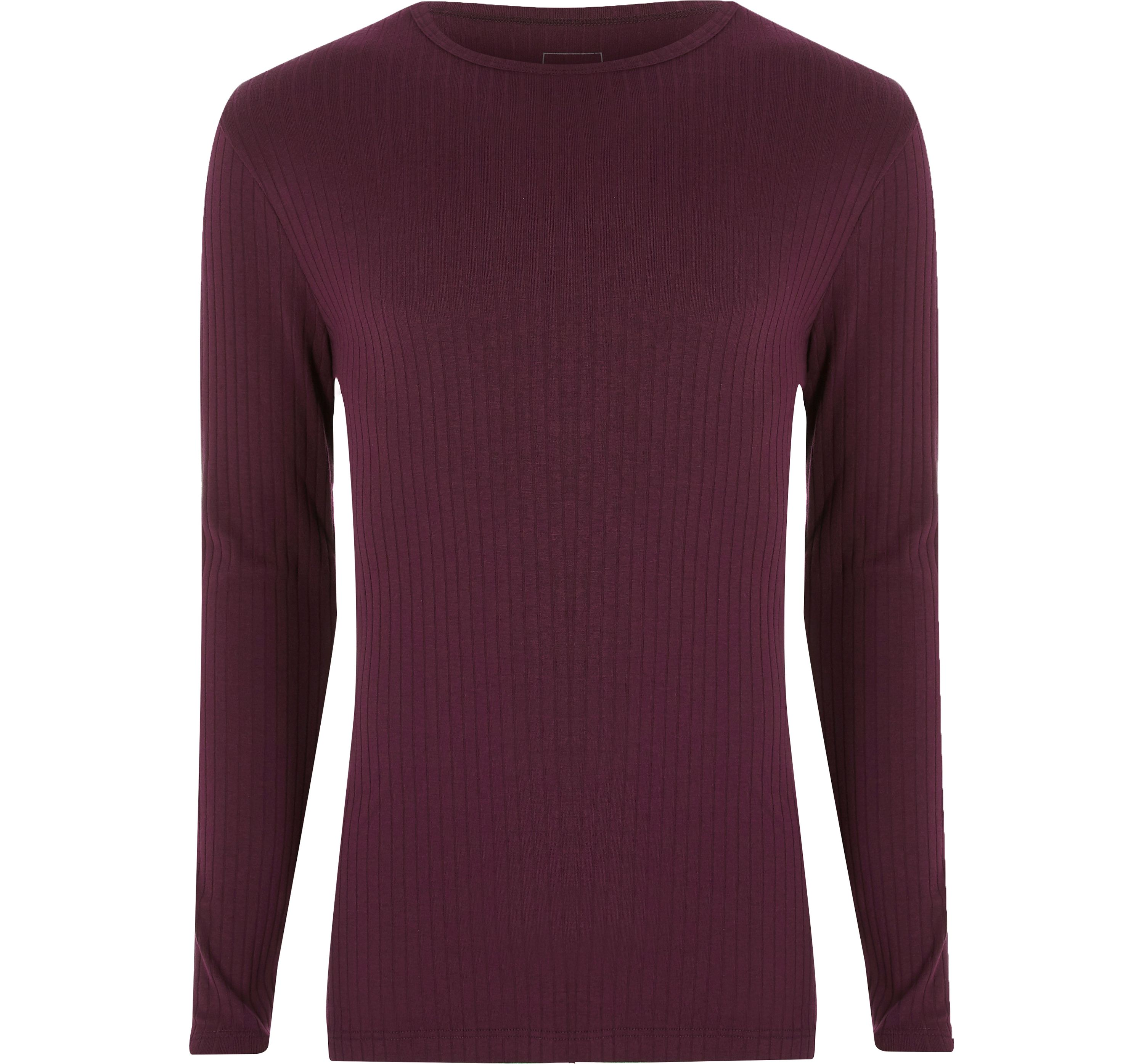 River Island Mens Dark Red ribbed slim fit long sleeve T-shirt