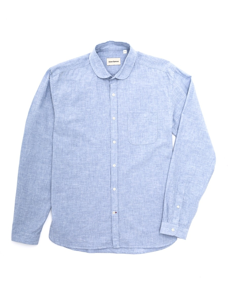 Oliver Spencer Eton Collar Shirt Campbell Sky Blue