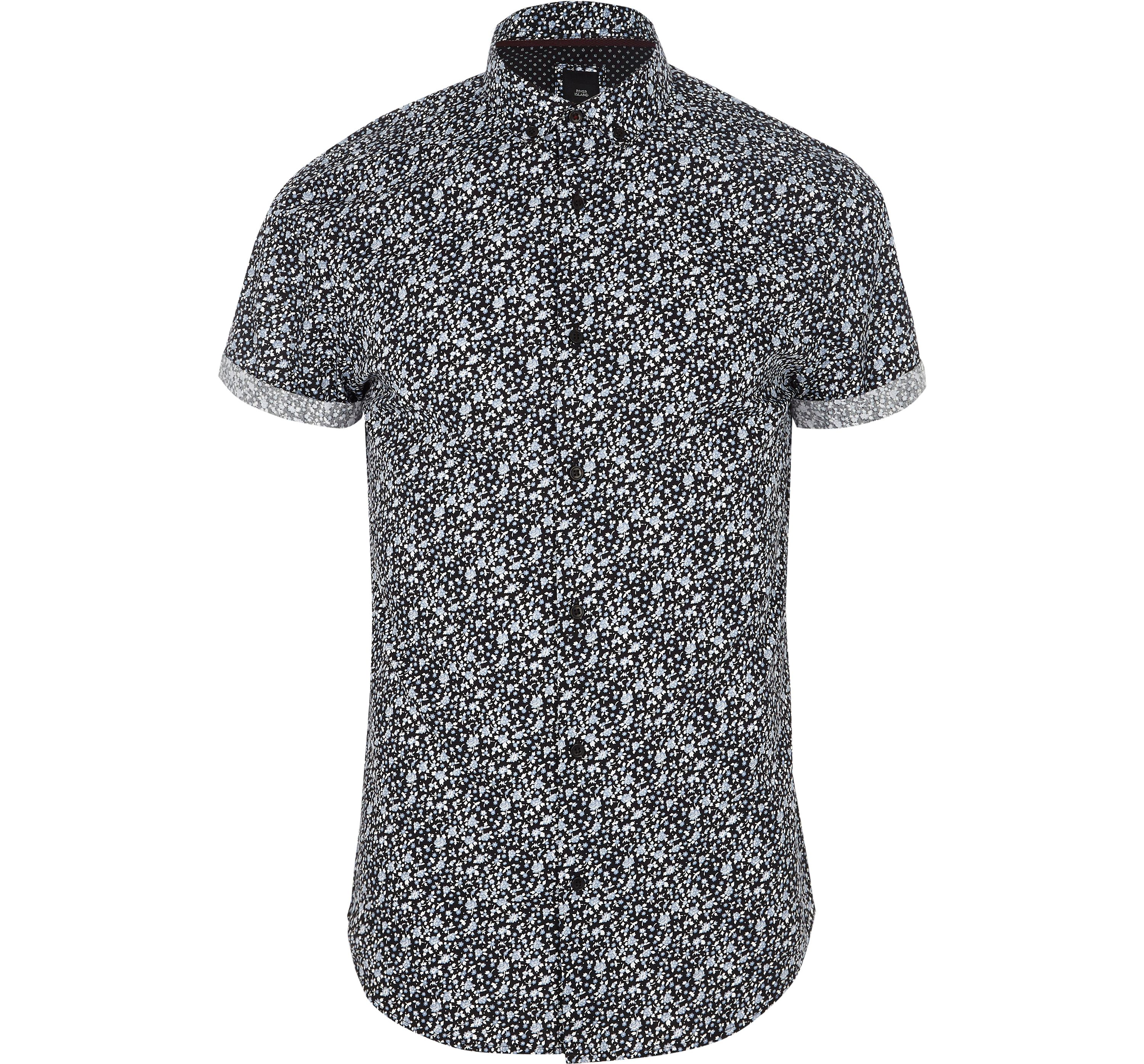 River Island Mens Navy ditsy floral short sleeve slim fit shirt