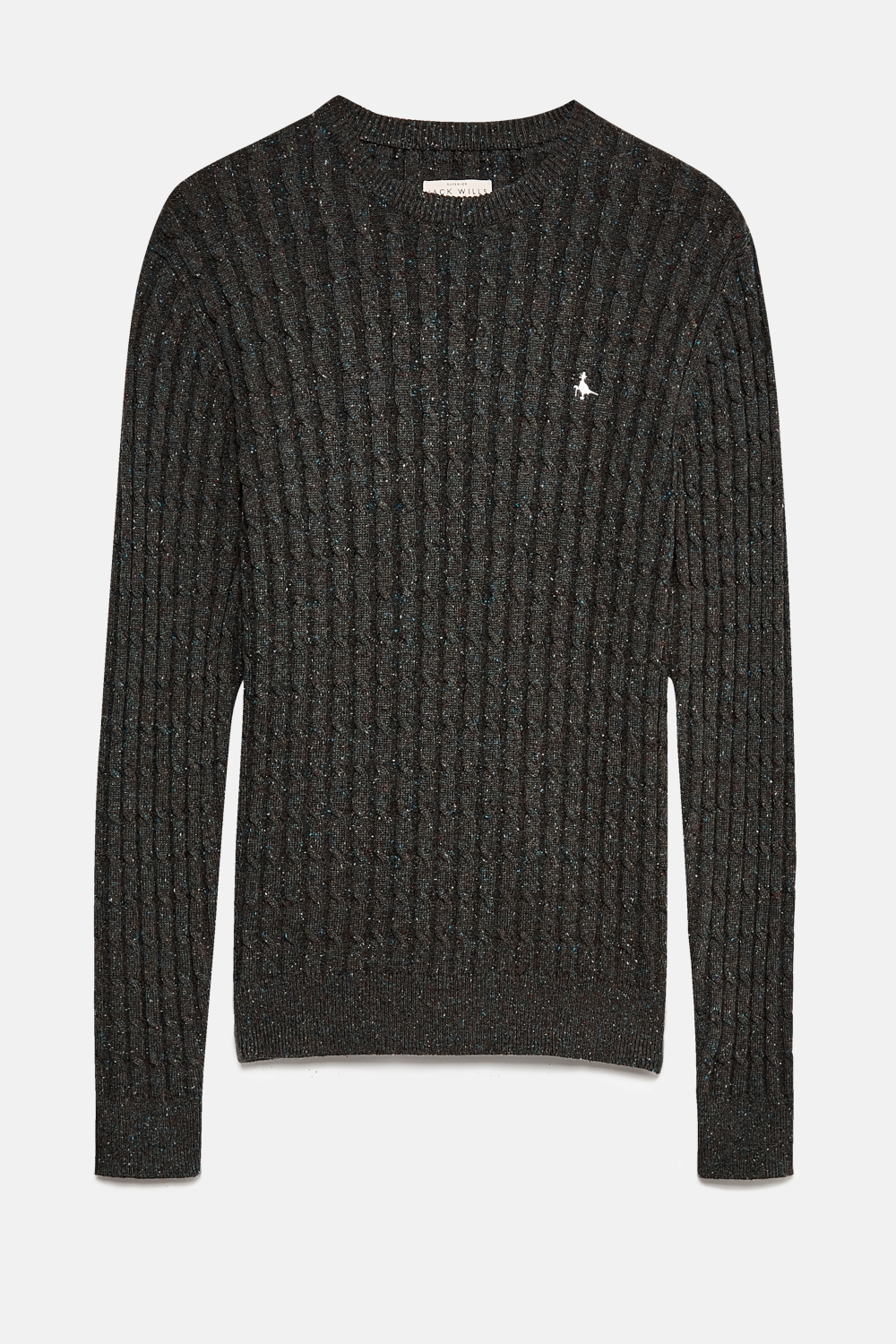 Jack Wills Charcoal MARLOW CABLE CREW NECK JUMPER