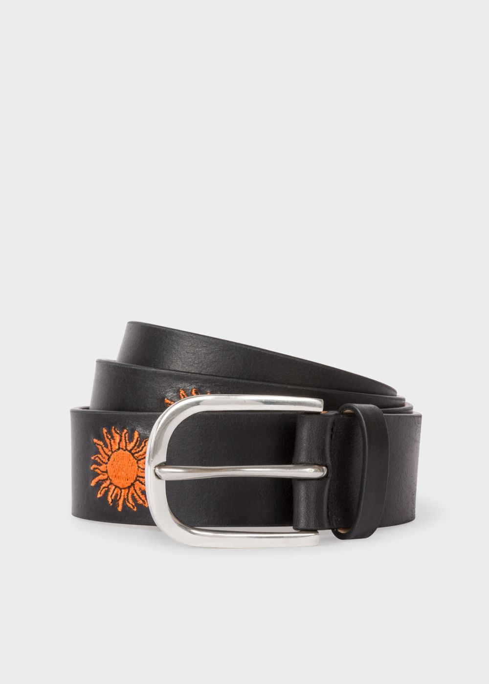 Paul Smith Men's Black Embroidered Sun Pattern Leather Belt