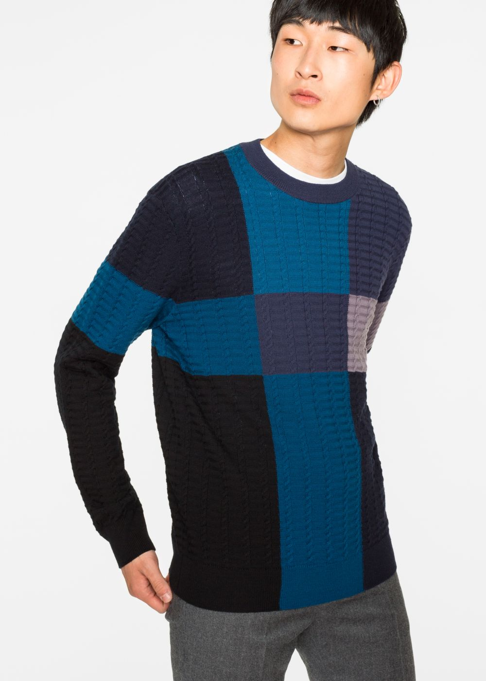 Paul Smith Men's Colour-Block Merino-Wool Cable-Knit Sweater