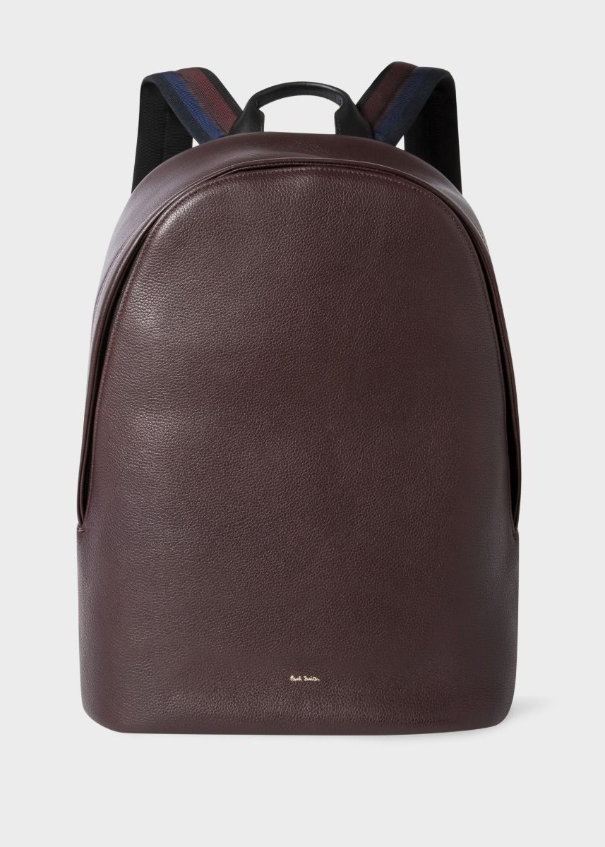 Paul Smith Men's Burgundy Leather 'City Webbing' Backpack