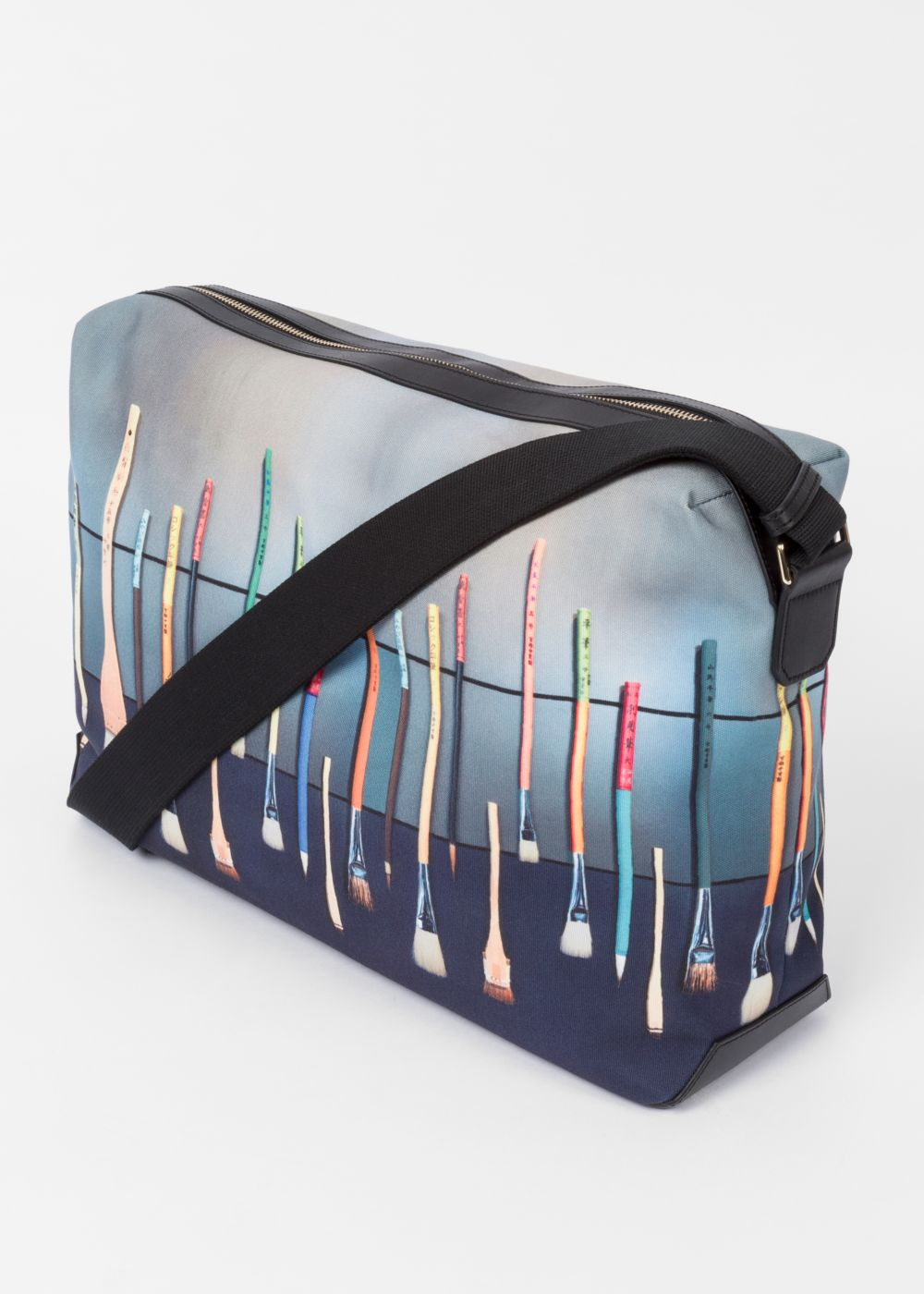 Paul Smith Men's Canvas 'Paint Brush' Print Messenger Bag