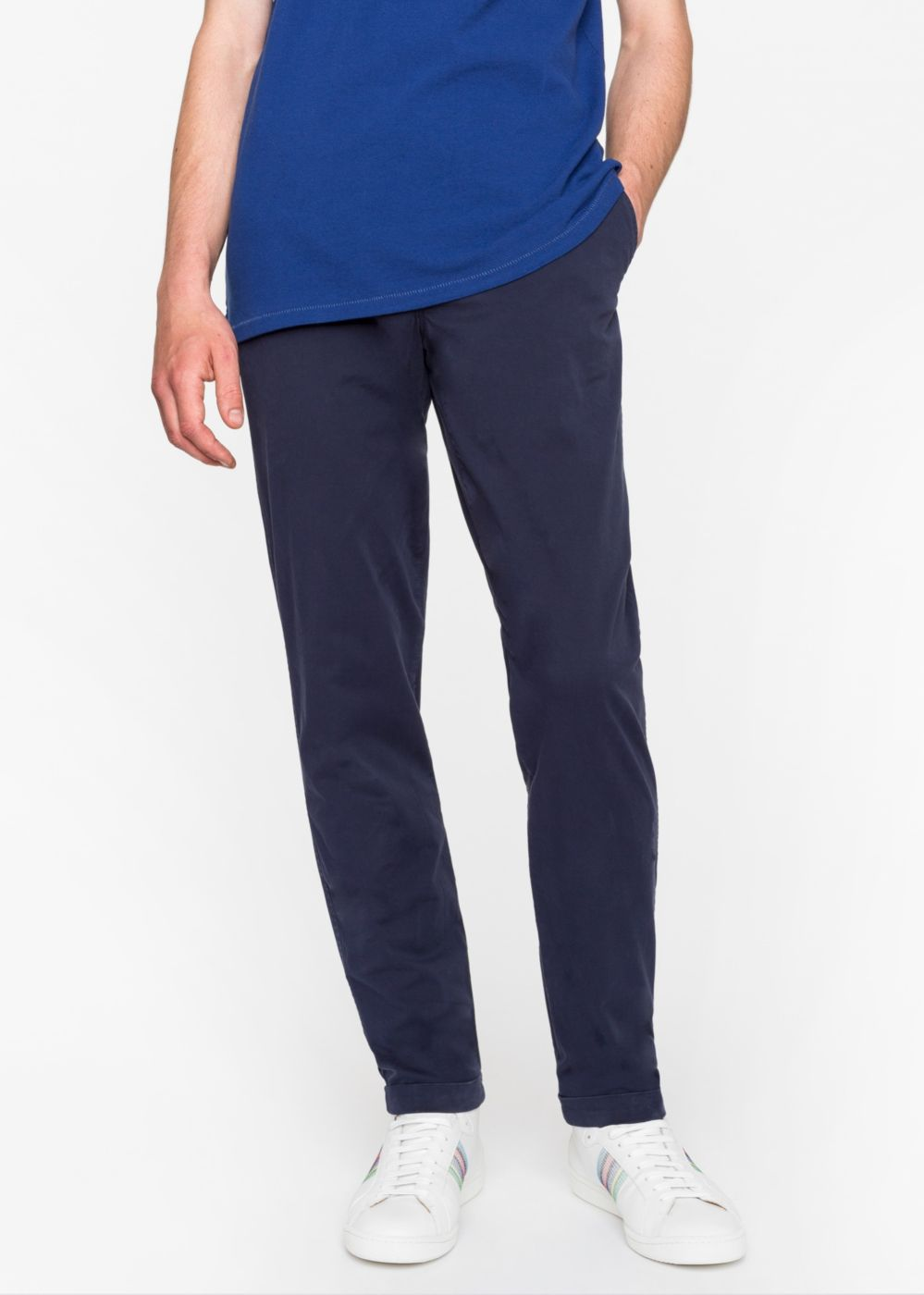 Paul Smith Men's Tapered-Fit Navy Garment-Dyed Pima-Cotton Stretch Chinos