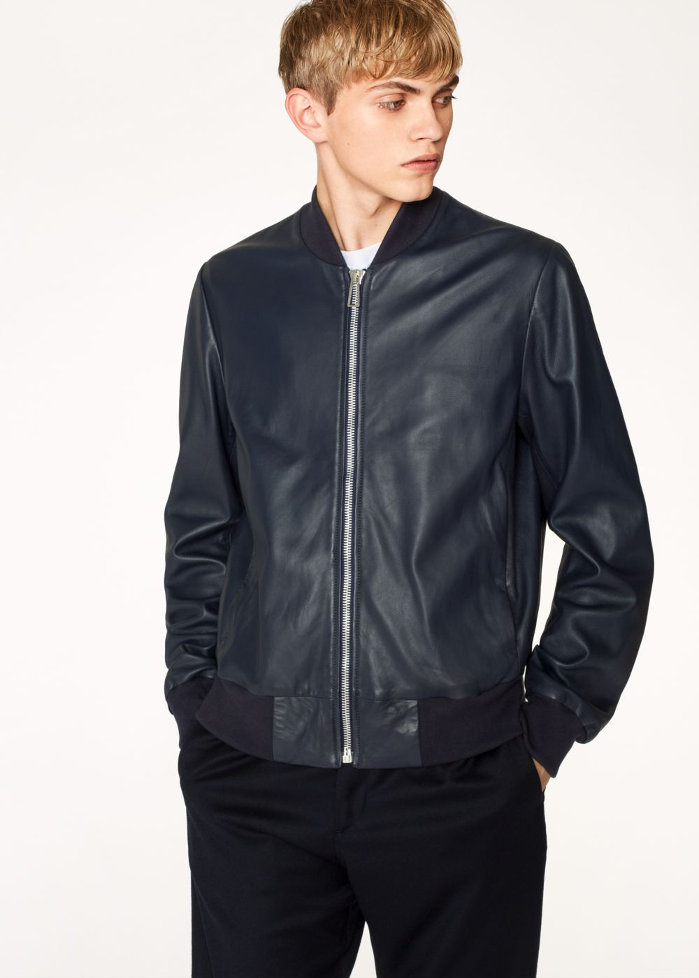 Paul Smith Men's Dark Navy Leather Bomber Jacket