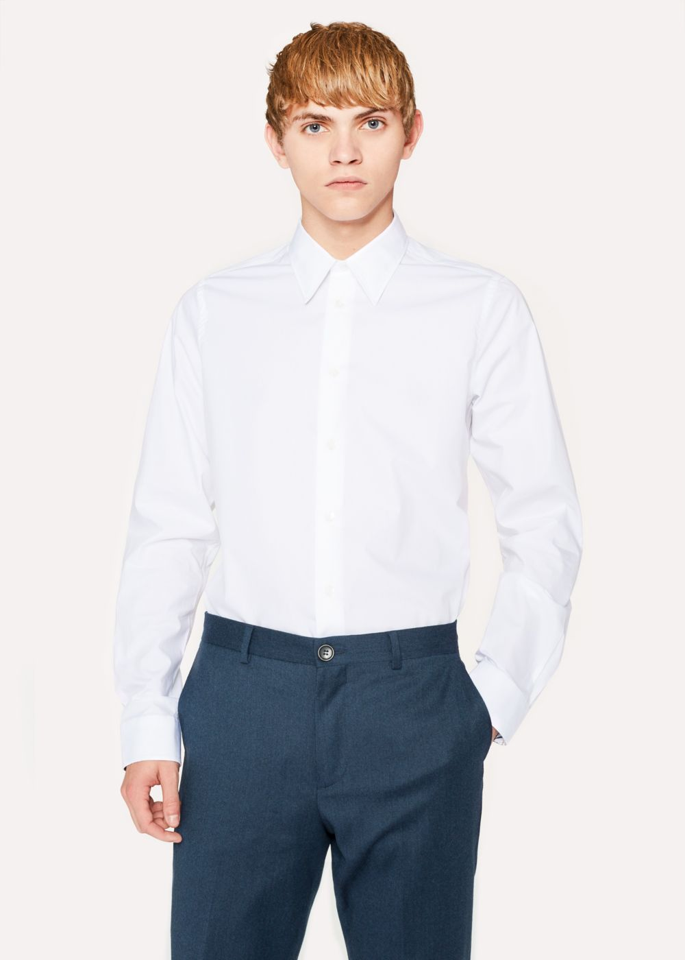 Paul Smith Men's Tailored-Fit White Contrast-Cuff Shirt