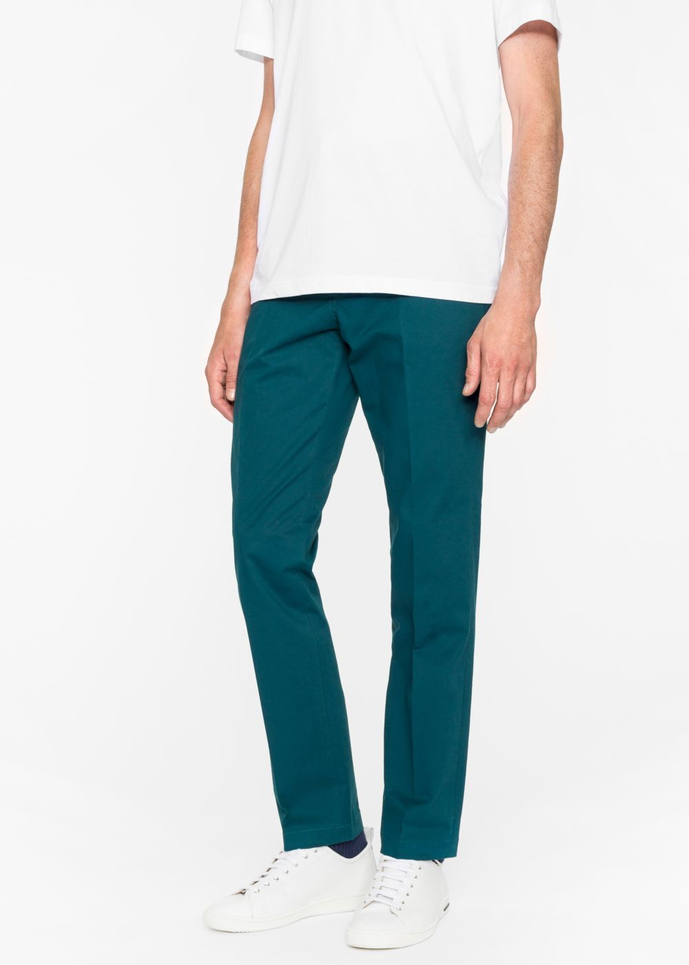 Paul Smith Men's Mid-Fit Dark Teal Stretch-Cotton Chinos
