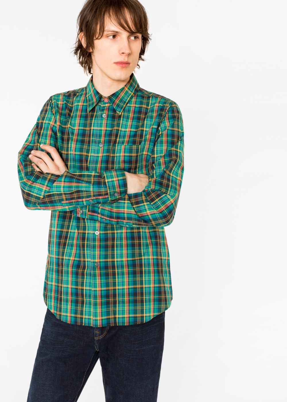 Paul Smith Men's Tailored-Fit Green Check Shirt