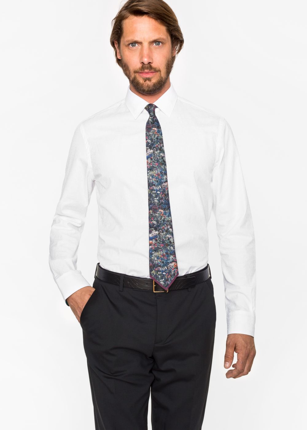 Paul Smith Men's Tailored-Fit White Floral Jacquard Cotton Shirt With 'Artist Stripe' Cuff Lining