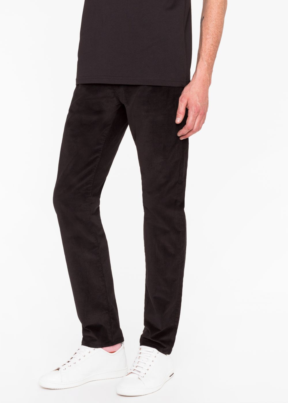 Paul Smith Men's Tapered-Fit Black Stretch-Cotton Corduroy Trousers