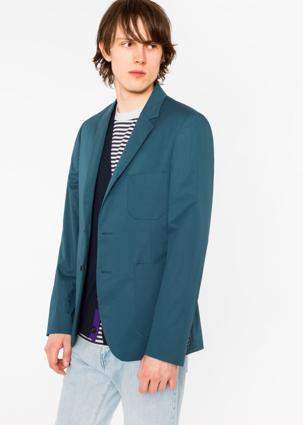 Paul Smith Men's Slim-Fit Dark Teal Stretch-Cotton Buggy-Lined Blazer