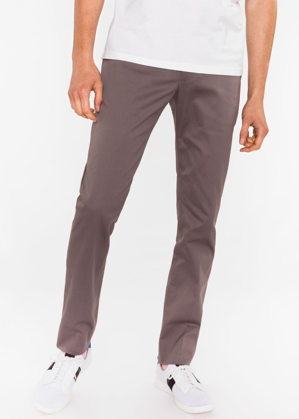 Paul Smith Men's Slim-Fit Grey Cotton-Twill Stretch Chinos