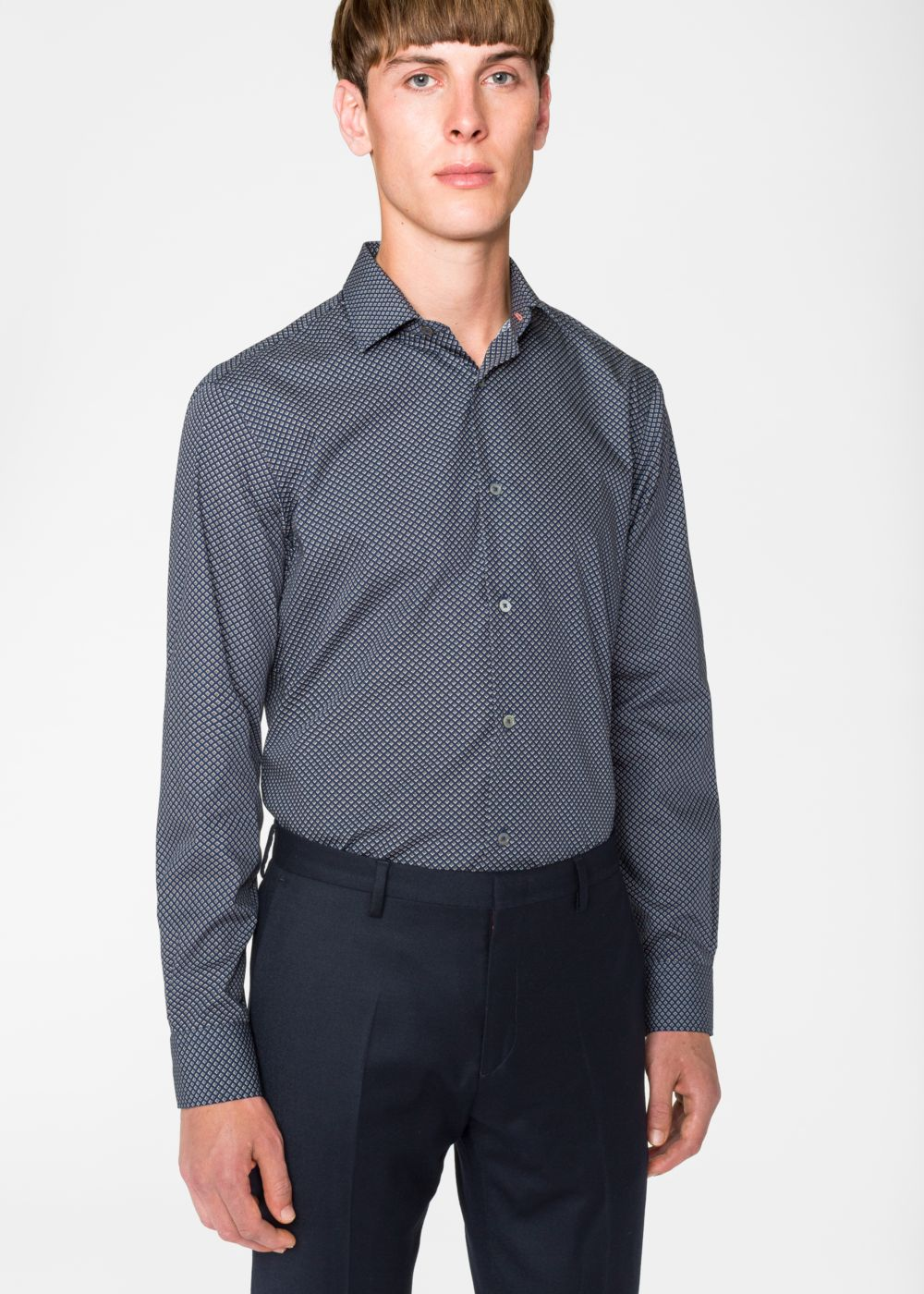 Paul Smith Men's Classic-Fit Grey 'Tie' Print Shirt With 'Tudor Rose' Cuff Lining
