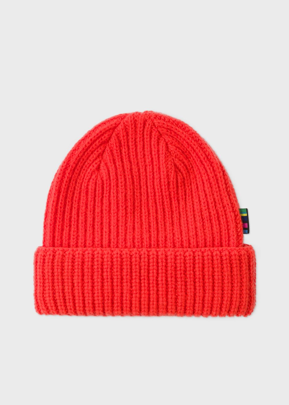 Men s Neon Red Wool Beanie Hat by Paul Smith — Thread 2574a2cc80f