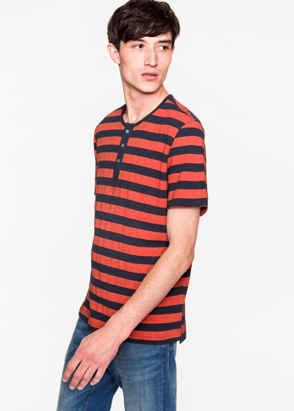 Paul Smith Men's Navy And Red Short-Sleeve Henley Top