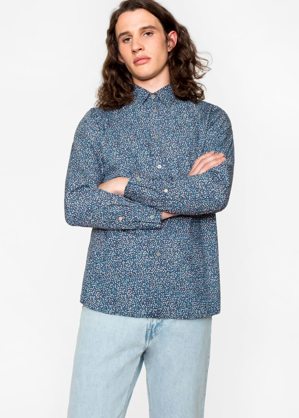 Paul Smith Men's Tailored-Fit Petrol 'Overlaid Circles' Print Cotton Shirt