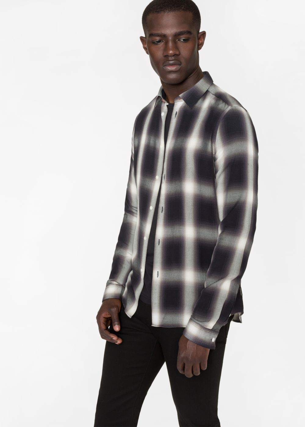 Paul Smith Men's Slim-Fit Black And White Check Shirt