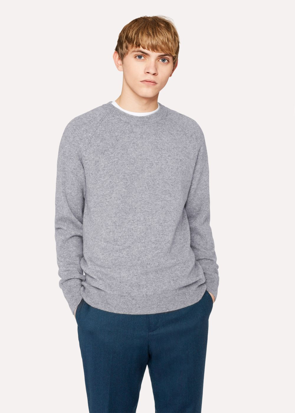 Paul Smith Men's Light Grey Merino Wool Raglan Sleeve Sweater