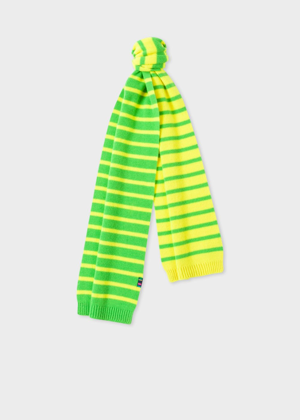 Paul Smith Men's Neon Yellow Stripe Lambswool Scarf
