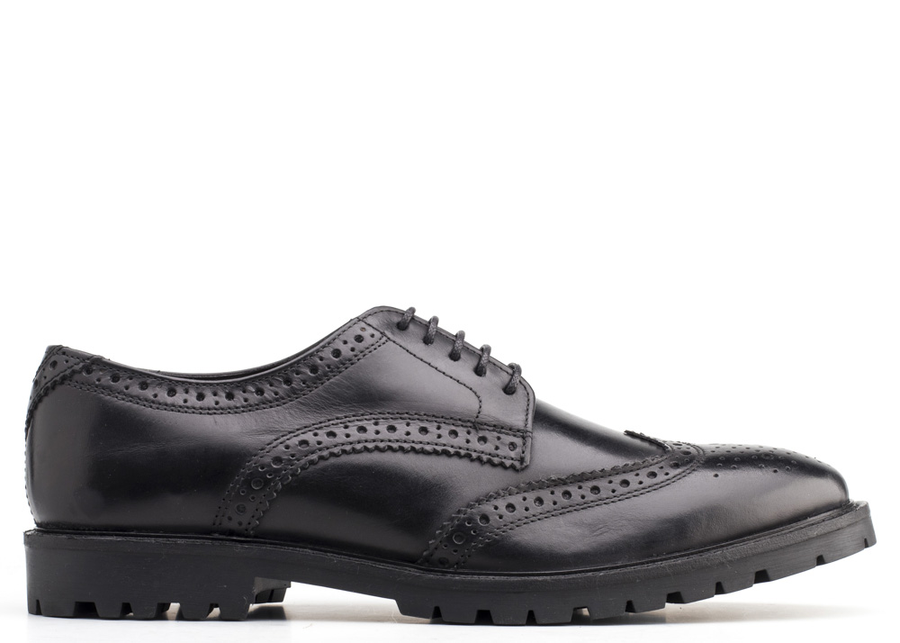 Base London Washed Black Trench Brogue Shoes