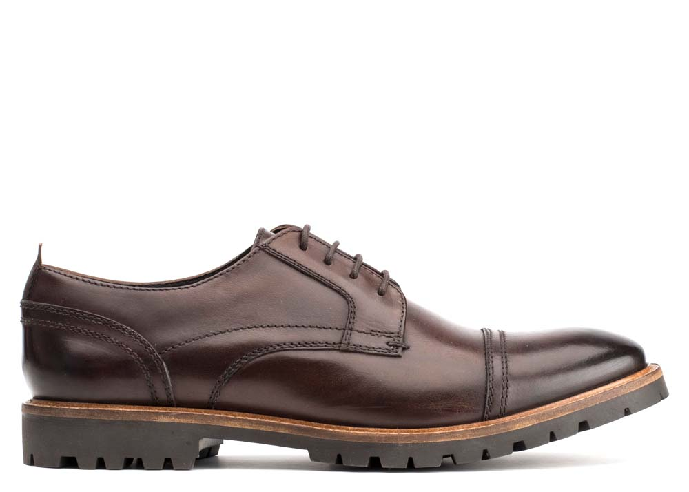 Base London Washed Brown Pike Derby Shoes