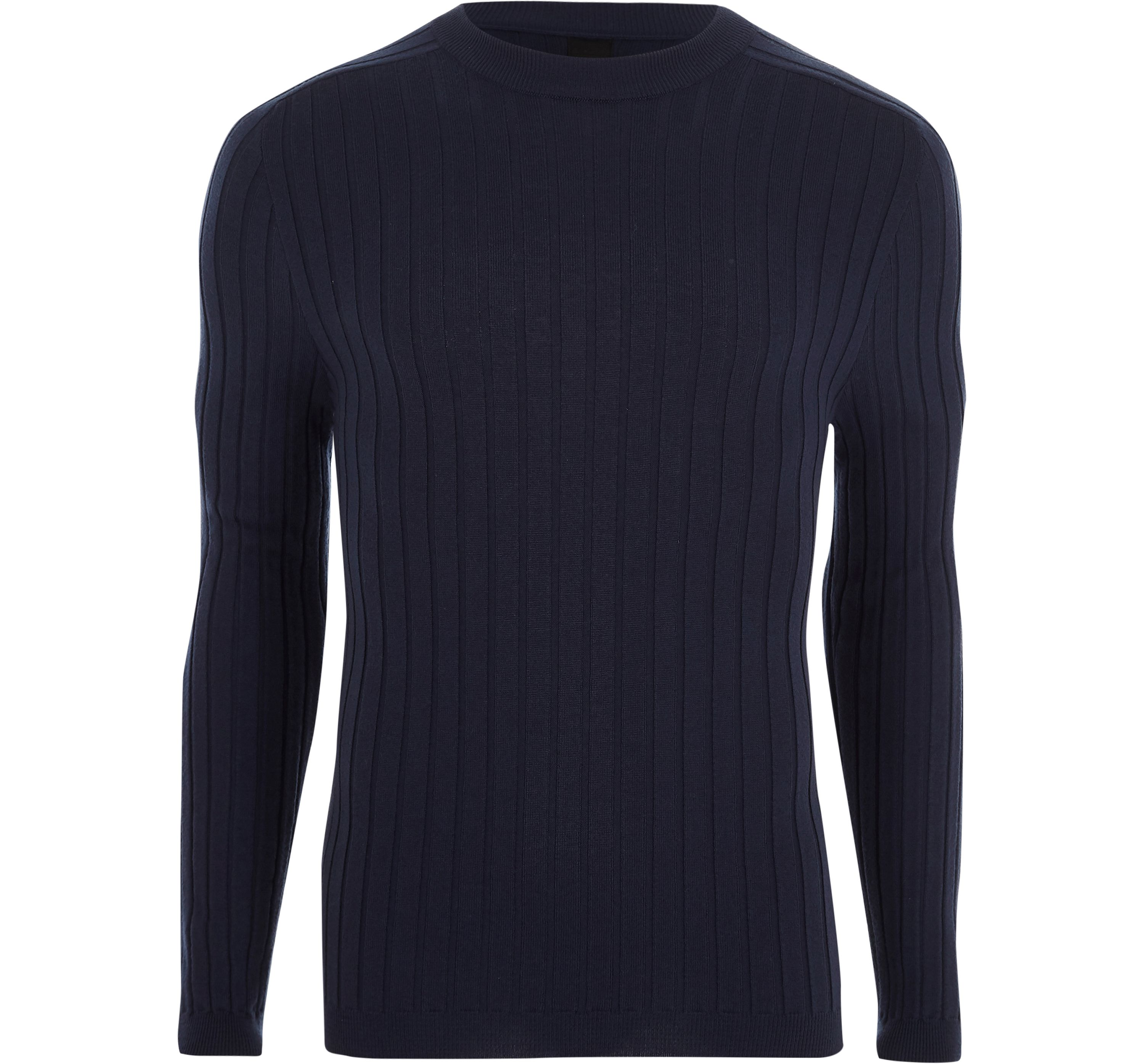 River Island Mens Blue rib knit muscle fit crew neck jumper