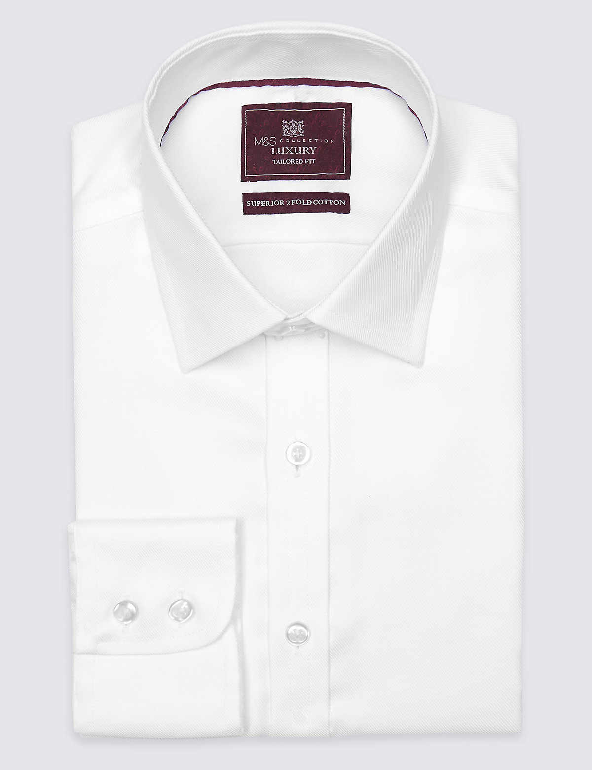 Marks & Spencer White Pure Cotton Twill Tailored Fit Shirt