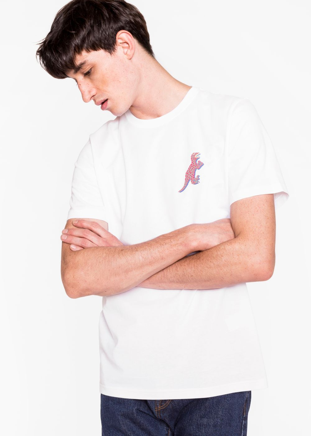 Paul Smith Men's White Organic-Cotton Small 'Dino' Print T-Shirt