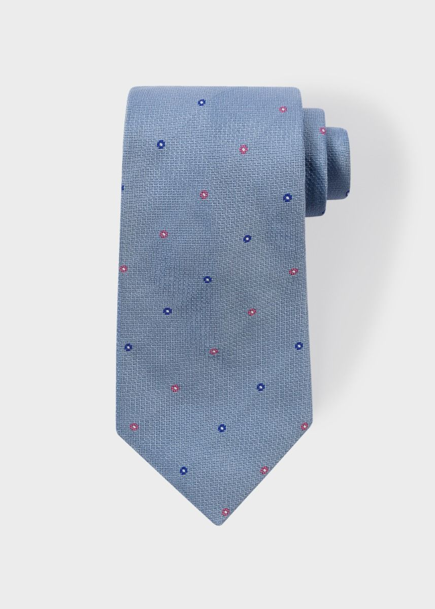Paul Smith Men's Sky Blue 'Polka-Floral' Motif Silk Tie