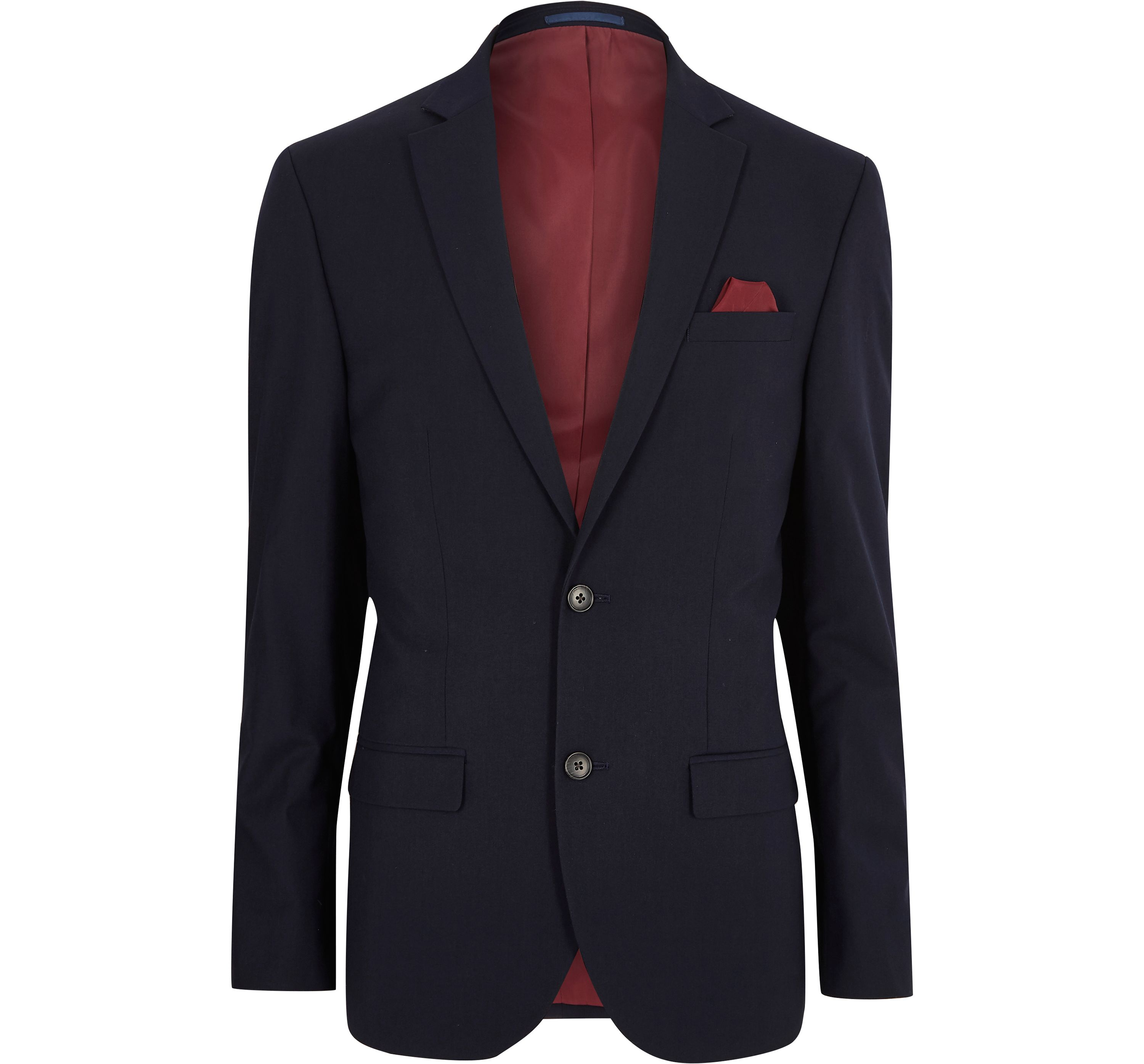 River Island Mens Navy skinny tailored fit suit jacket