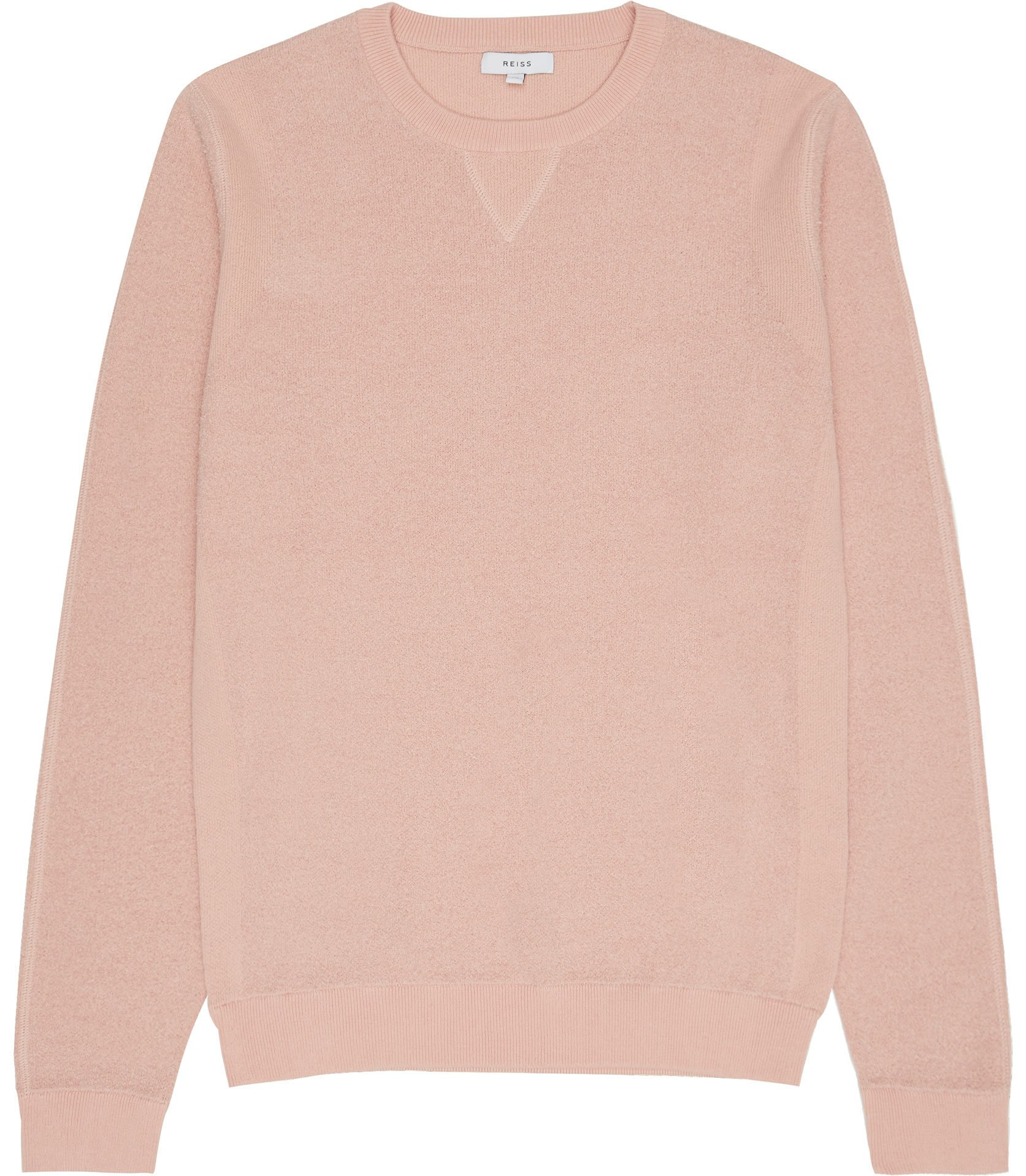 Reiss Soft Pink Laurence Textured Crew Neck Jumper