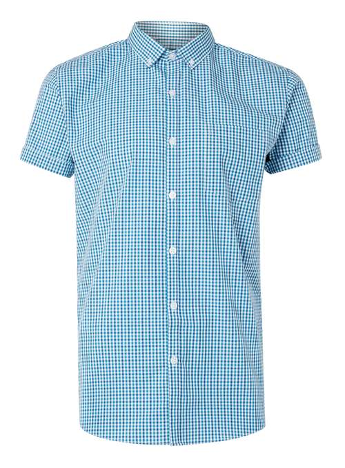 Topman Green Teal and navy gingham short sleeve smart shirt