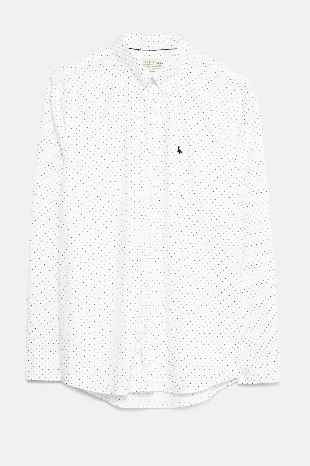 Jack Wills White GLENNHURST PRINTED POPLIN SHIRT