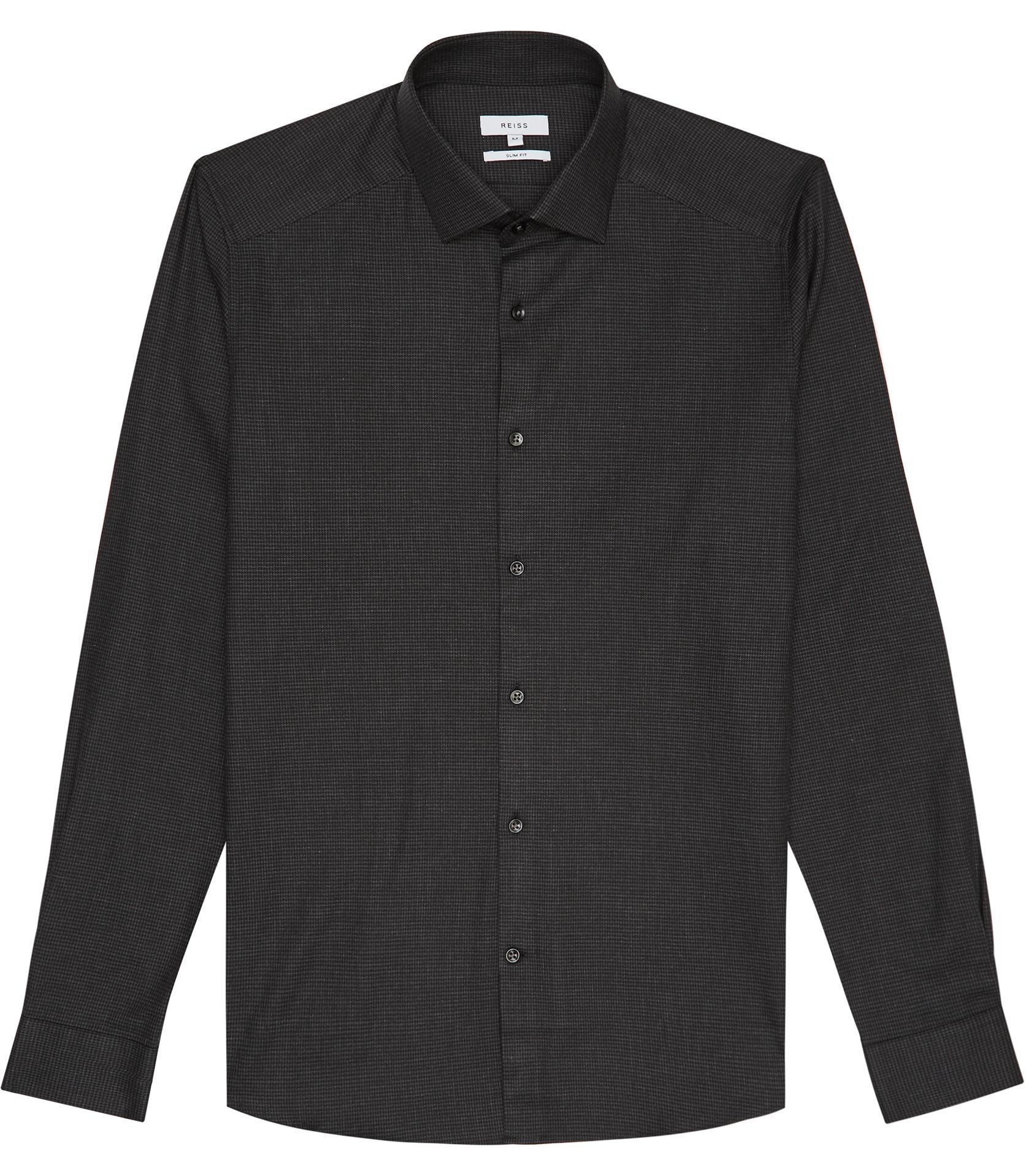 Reiss Charcoal Tucci Slim Fit Puppytooth Shirt