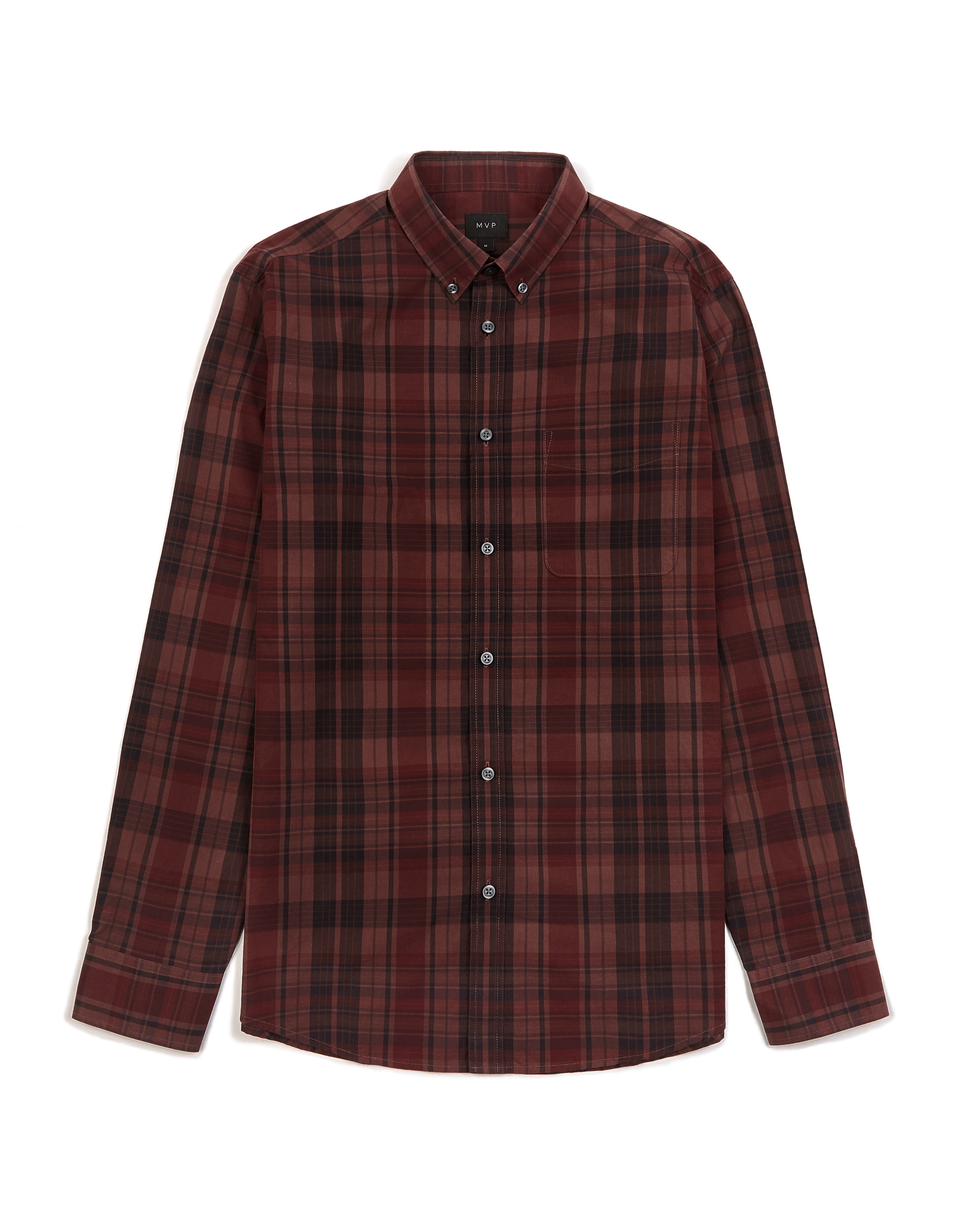MVP BURGUNDY Buckhurst Poplin 3 Colour Check Shirt