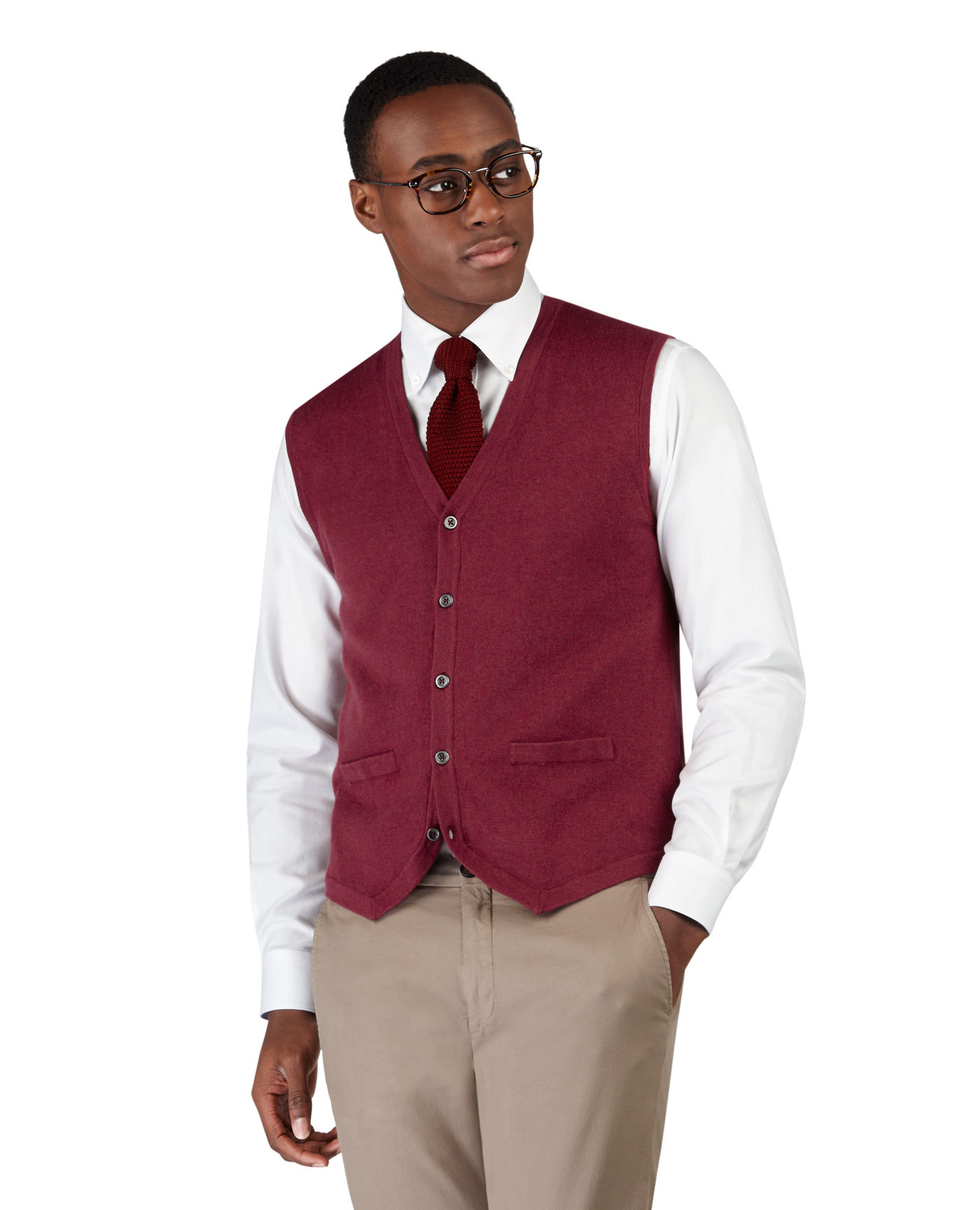 T.M.Lewin Weston Cotton Cashmere Ember Waistcoat