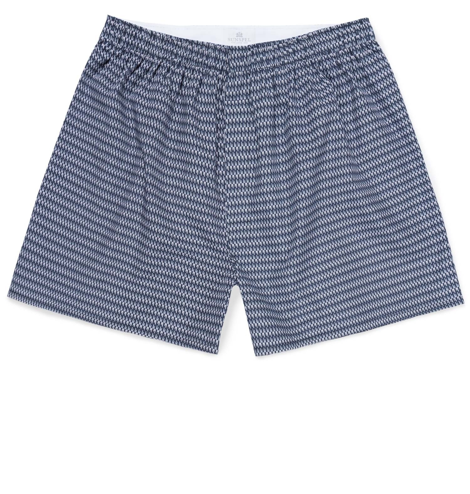 Sunspel Geo Navy Men's Printed Cotton Boxer Shorts