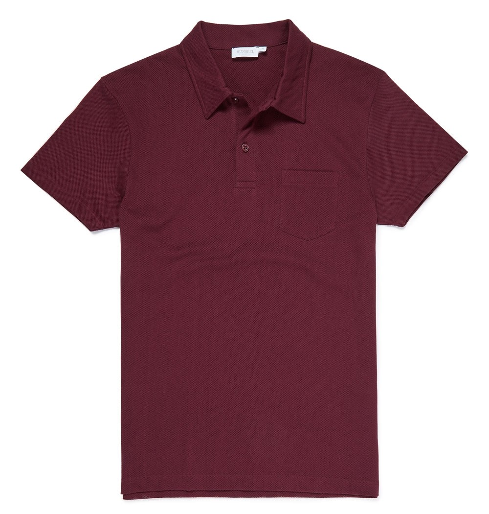 Sunspel Claret Men's Cotton Riviera Polo Shirt