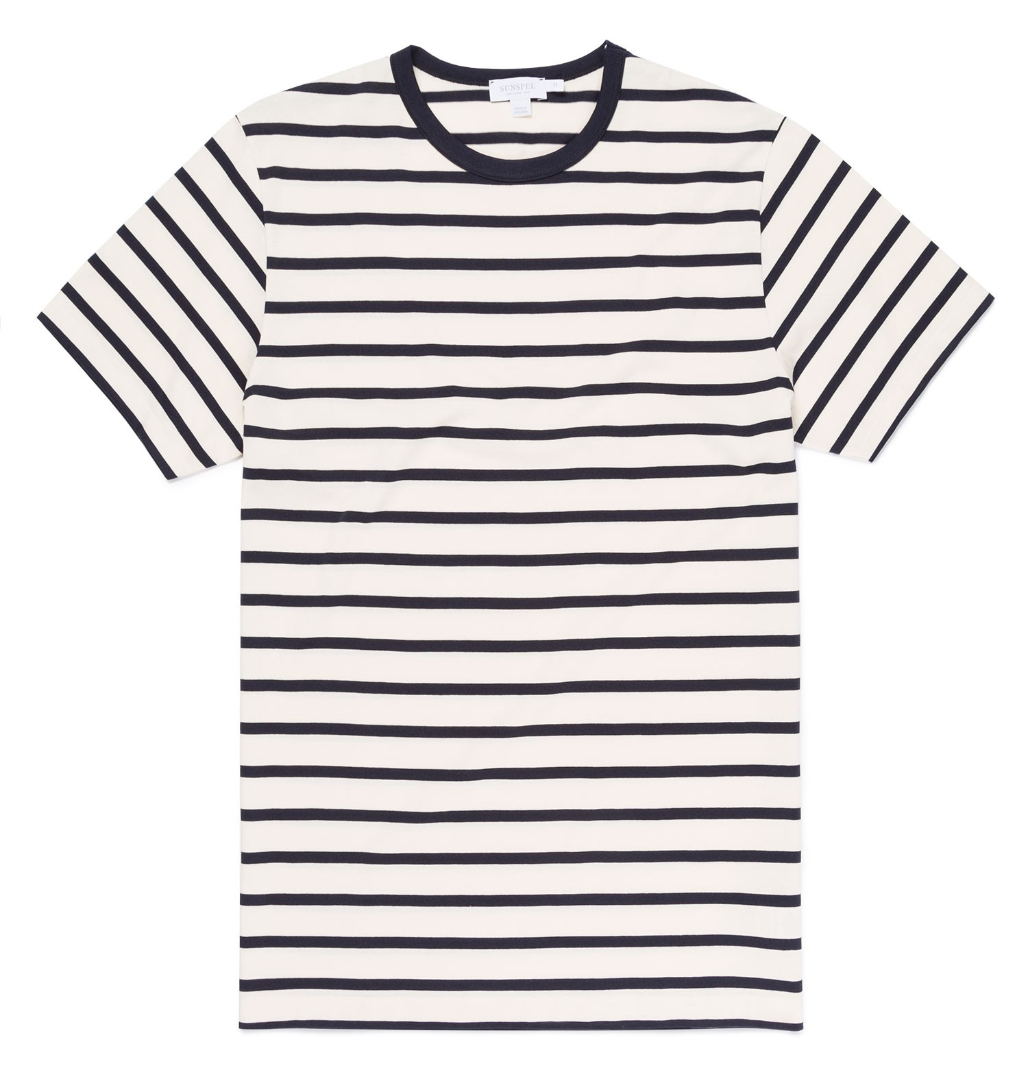 Sunspel Ecru/Navy Men's Classic Cotton Breton Stripe T-Shirt