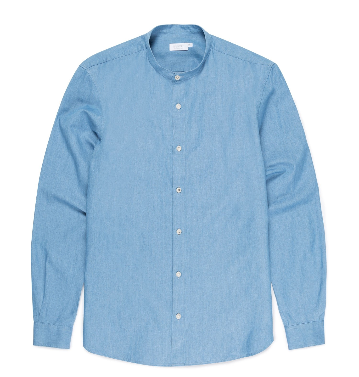 Sunspel Light Blue Denim Men's Cotton Linen Grandad Shirt