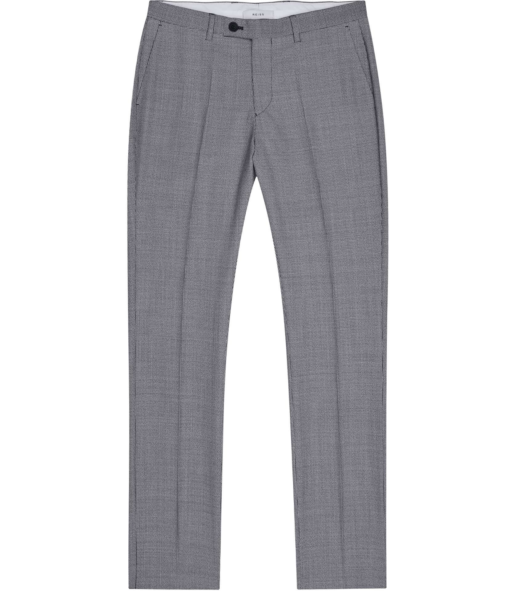Reiss Soft Blue Wangle Slim Fit Puppytooth Trousers