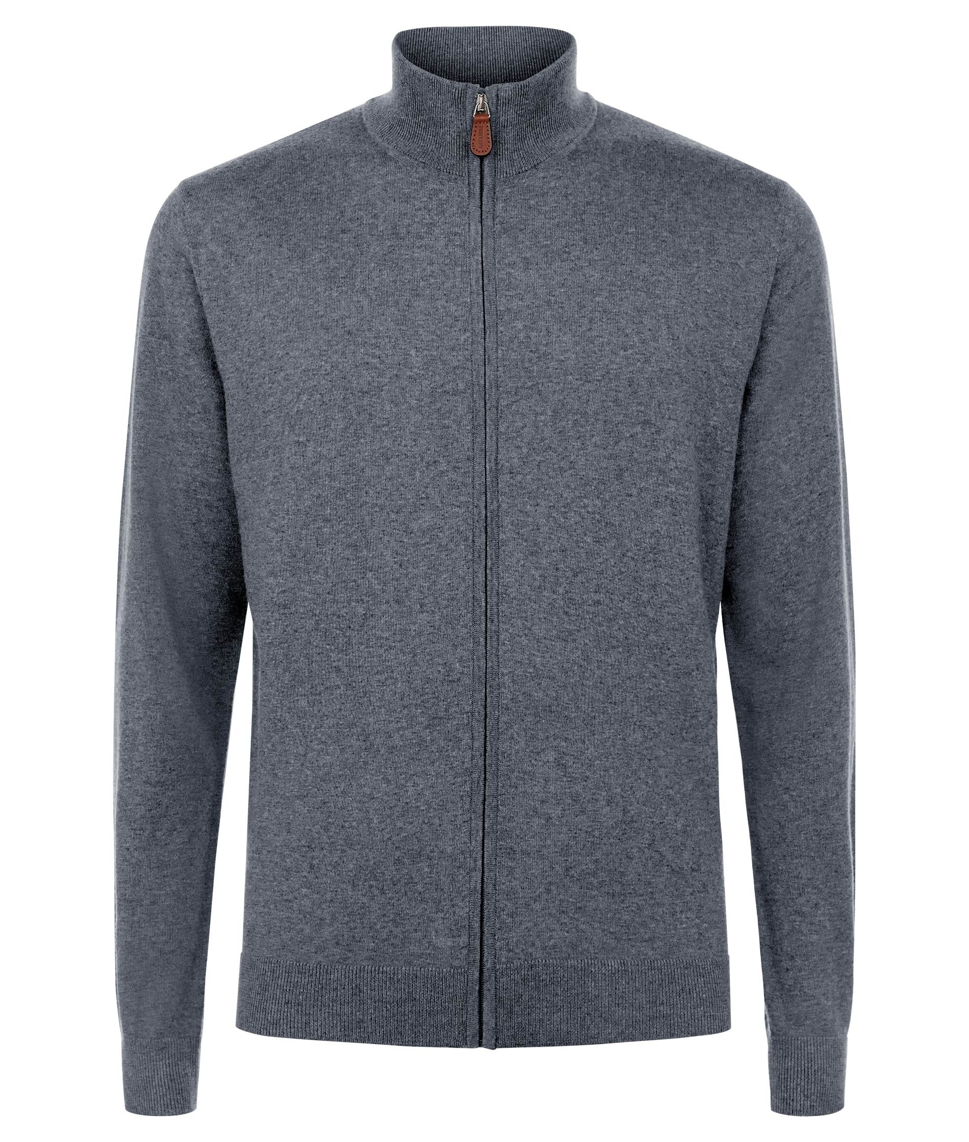 Nigel Hall Grey Merino Wool Zip Through Cardigan - Rufus