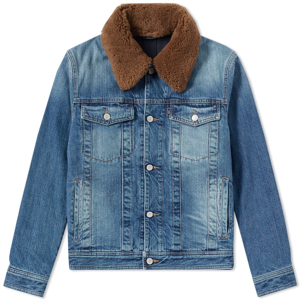 AMI Used Blue Wool Collar Denim Jacket