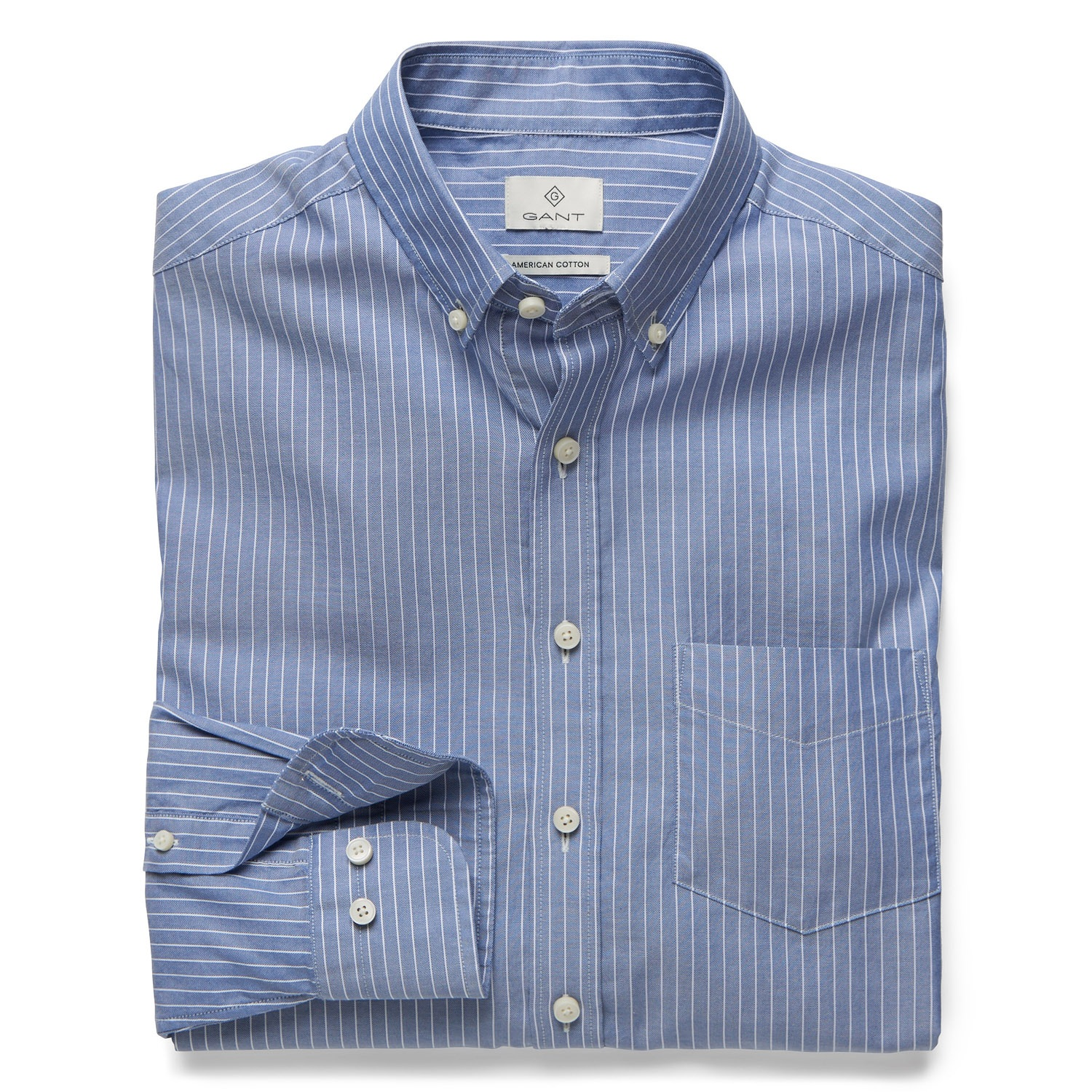 GANT Persian Blue Diamond G Royal Oxford Stripe Fitted Shirt