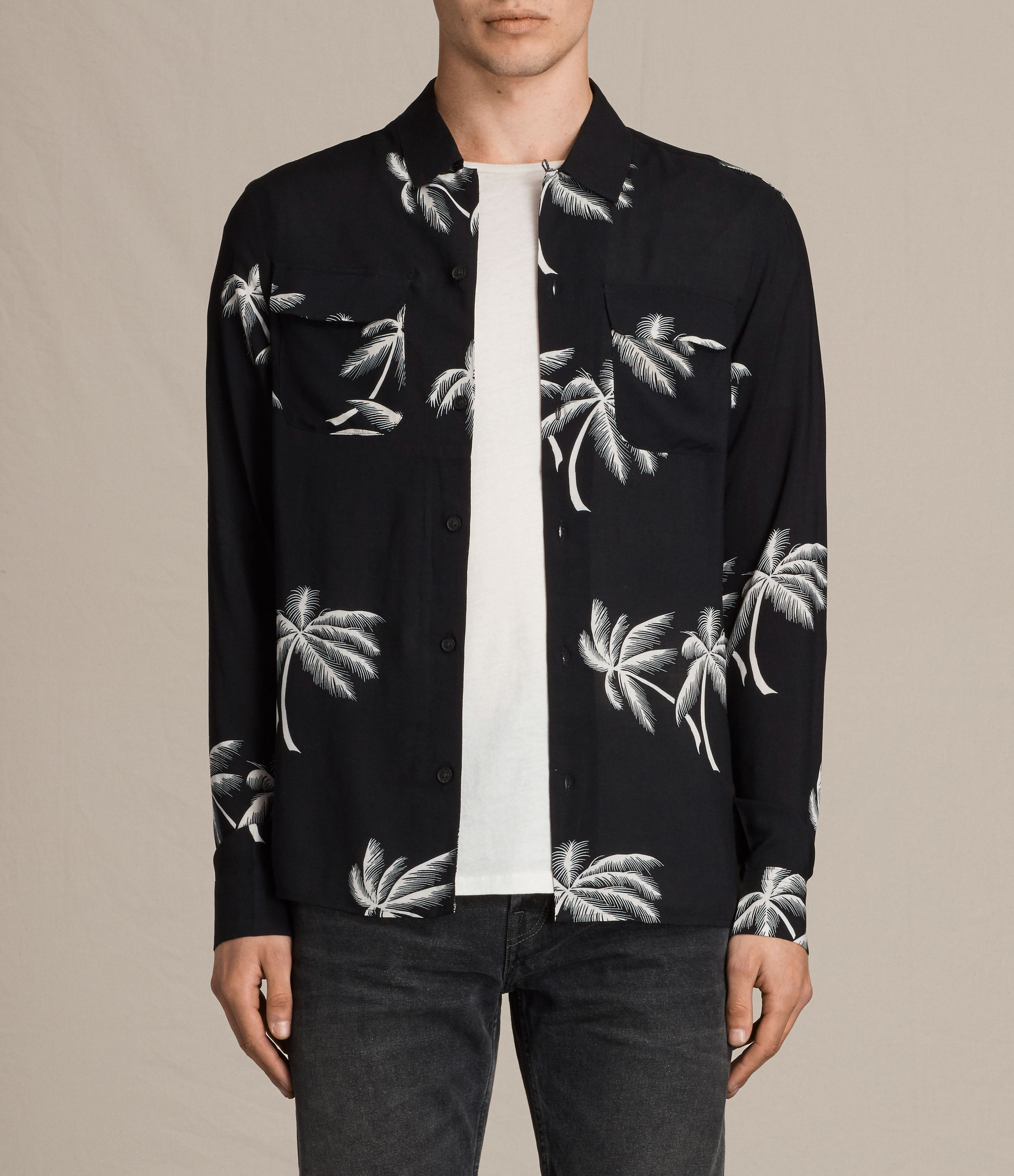 AllSaints Black Offshore Shirt