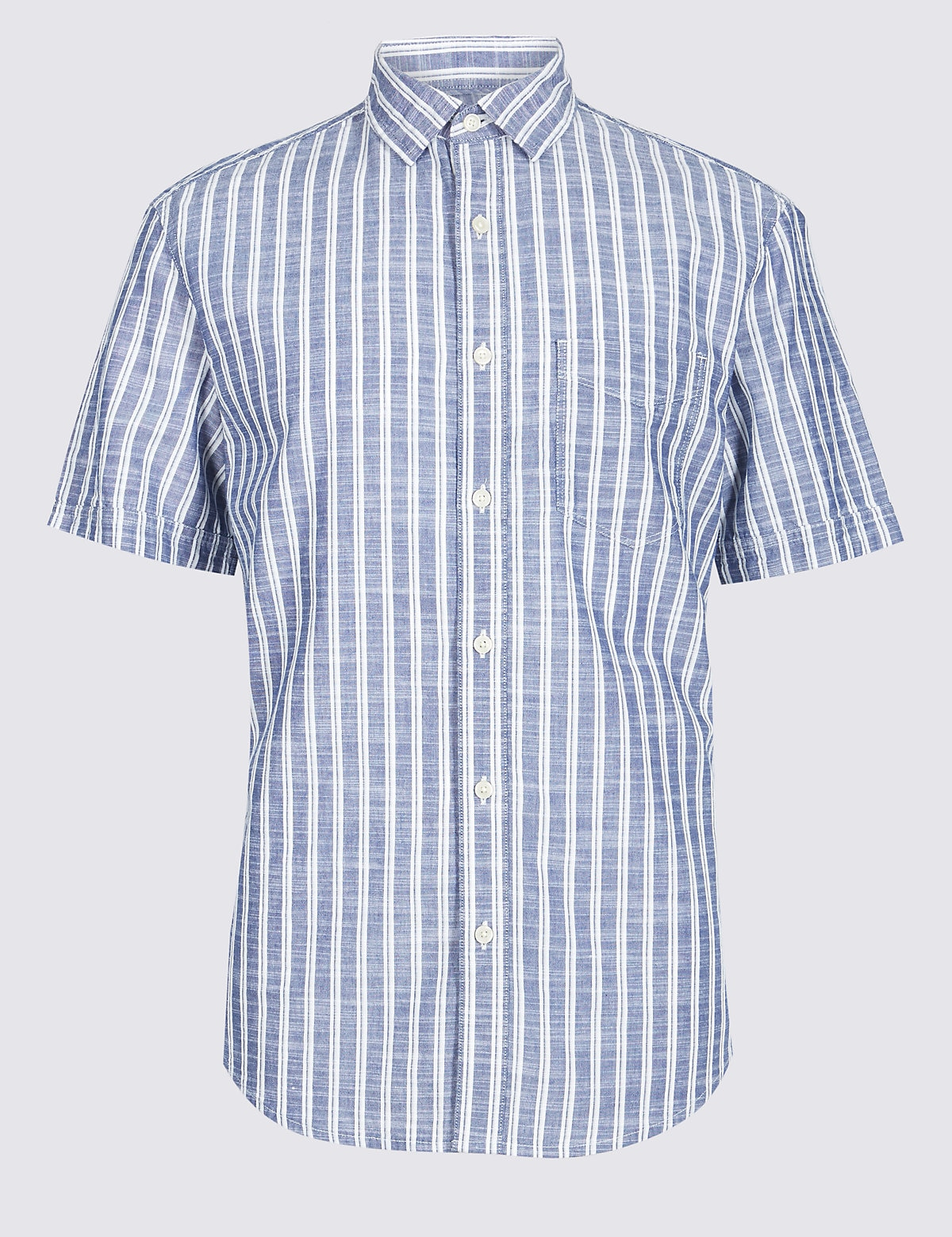 Marks & Spencer Blue Mix Pure Cotton Striped Shirt with Pocket