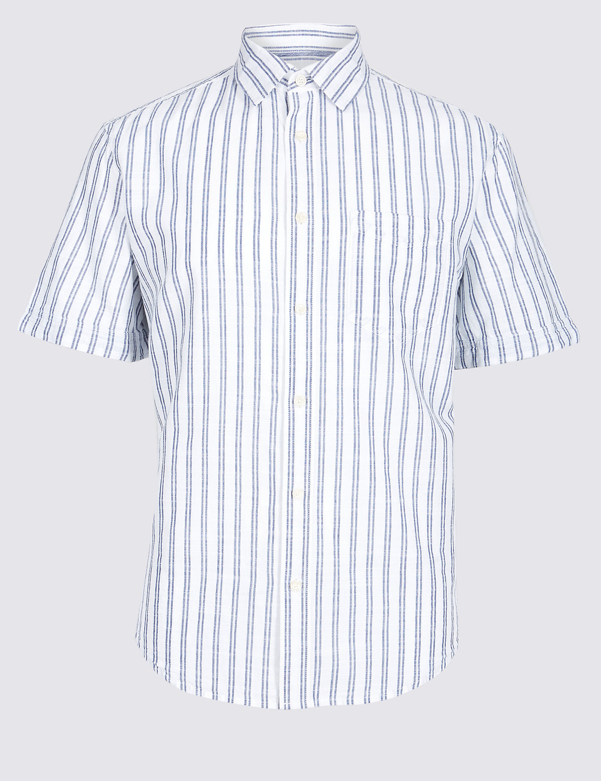 Marks & Spencer White Mix Pure Cotton Striped Shirt with Pocket