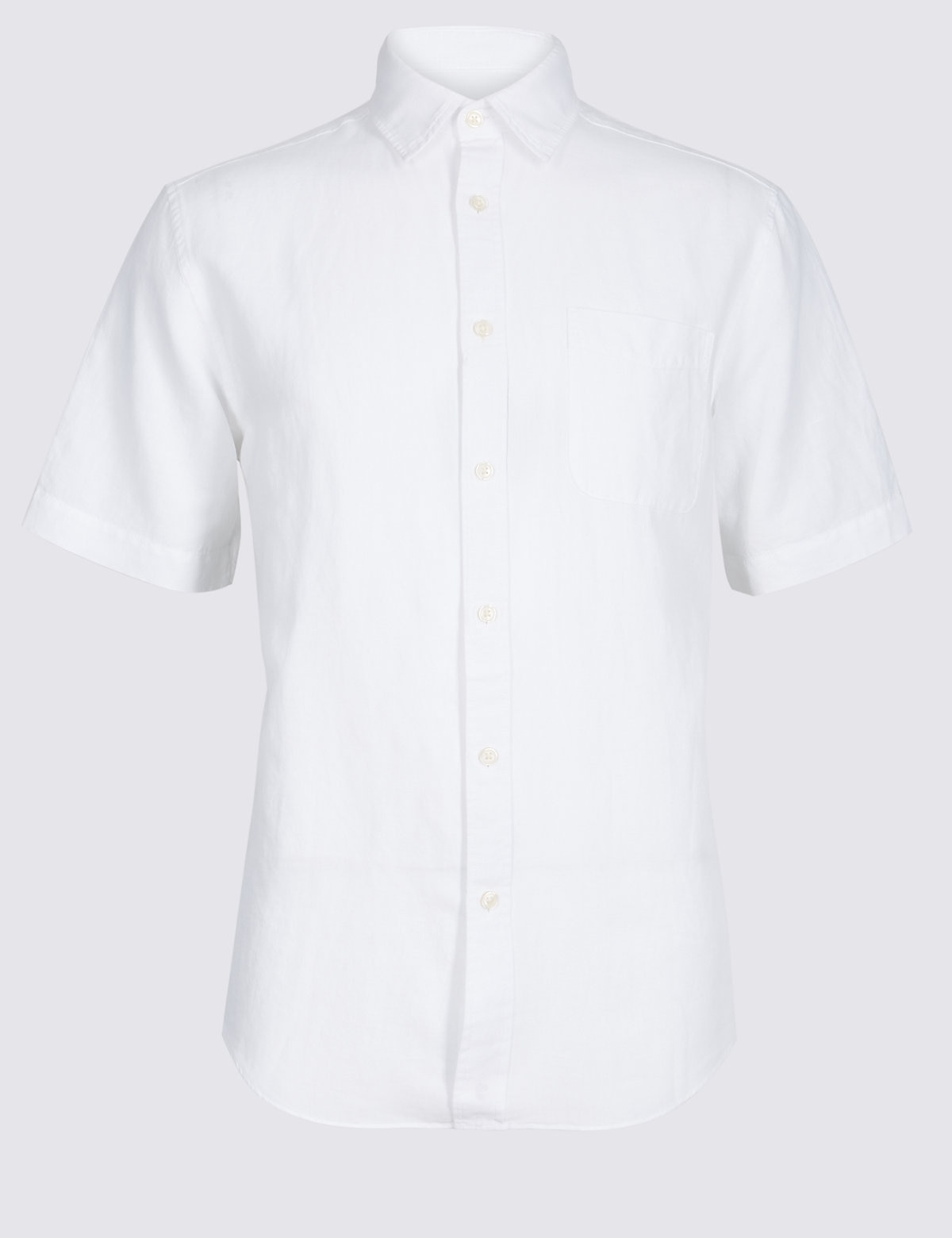 Marks & Spencer White Linen Rich Shirt with Pocket