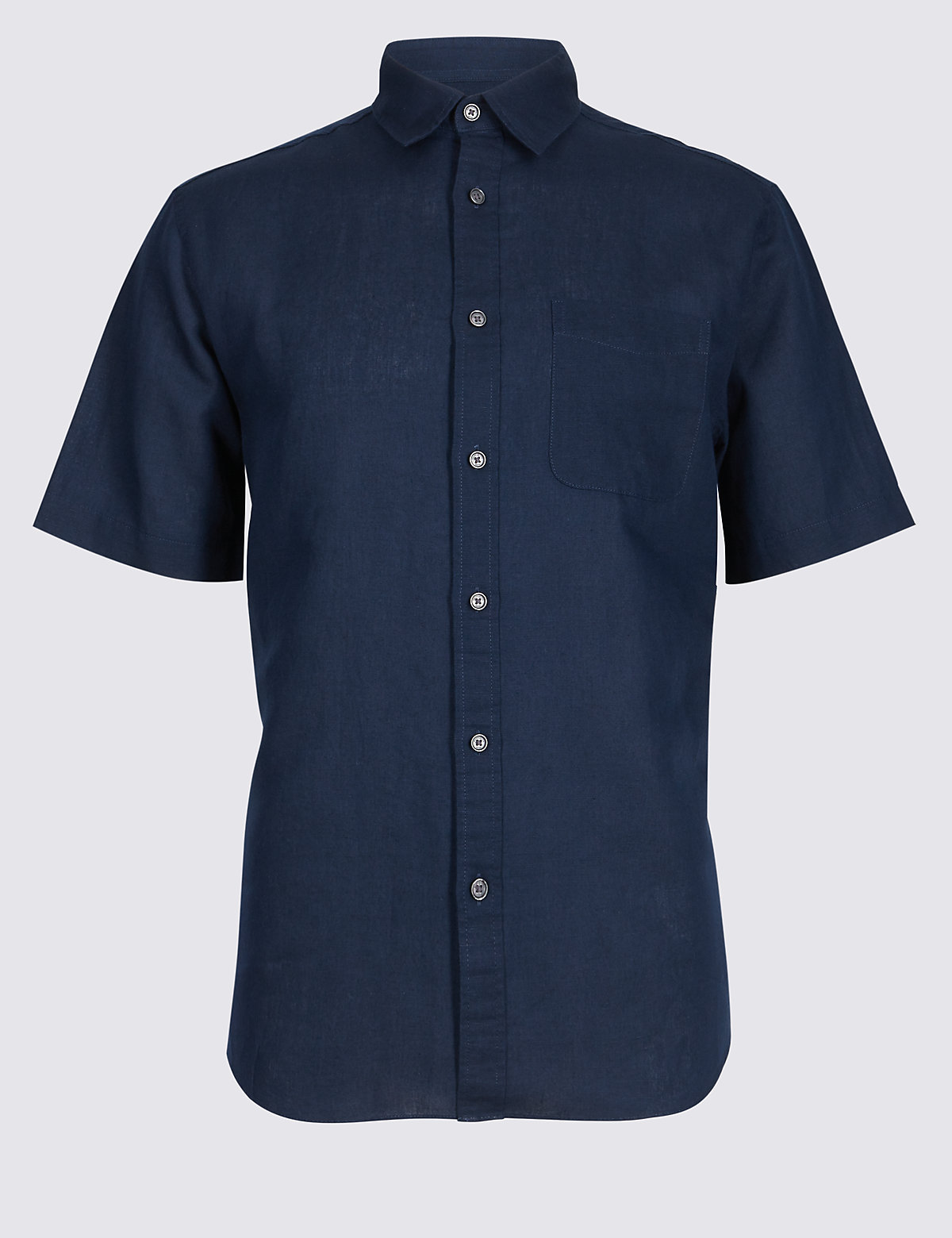 Marks & Spencer Navy Linen Rich Shirt with Pocket